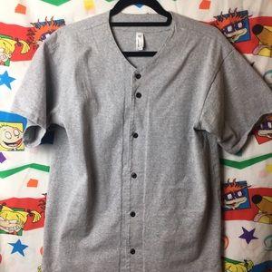 American Apparel Baseball Style Button-Up Shirt